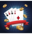 Cards of Poker and coins design vector image