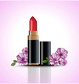 red lip stick mock up with flowers decor vector image