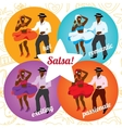 Salsa party or dance school poster with dancing vector image