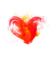 Isolated watercolor red heart with effects on vector image