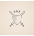 coat of arms with shield swords and crown vector image