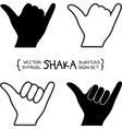Surfers shaka hand sign vector image