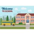 School building and school yellow bus vector image