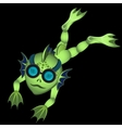 Single green diver on a black background vector image