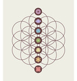 Chakra icons on flower of life modern design vector image
