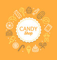 candy shop color round design template line icon vector image