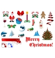 Christmas and New Year items set vector image