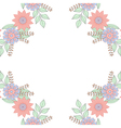 Floral doodles wreath frame in zentangle style vector image