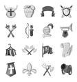 Knight icons set black monochrome style vector image