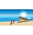seascape boat sandy beach icon isolated vector image