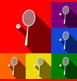 tennis racquet sign set of icons with vector image