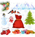 winter decor isolated elements mountains birds vector image