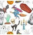 Halloween seamless pattern of sketch symbols vector image vector image