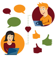online dating man and woman app icons in cartoon vector image