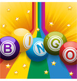 Bingo balls on rainbow and stars vector image