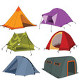 set of tourist tents vector image