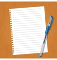 Sheet with lines and a pen vector image