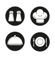 Restaurant kitchen equipment black icons set vector image