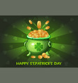 cartoon pot with coin happy st vector image