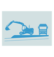 Excavator and dump truck vector image
