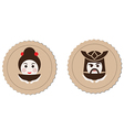 samurai and geisha tea ceremony logo element vector image