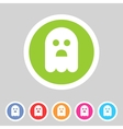 Halloween ghost flat icon badge vector image