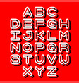 3d outline font and alphabet vector image