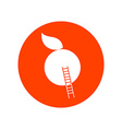 Apple with Stairway Round Icon vector image