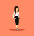 Business woman in black white costume vector image