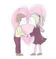 cute girl and boy valentines day love card vector image