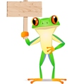 frog cartoon with blank sign vector image