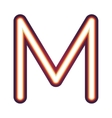 Glowing neon letter M vector image