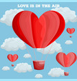 red heart air balloon valentine day card vector image