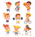 sports and fitness funny cartoon character vector image