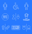various white color line water closet signs toilet vector image