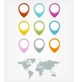 Colorful web buttons with world map vector image vector image