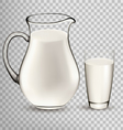 Natural Whole Milk In Jug And Glass isolated On vector image