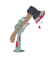 Zombie Hand Appears with Axe in Blood Isolated vector image