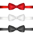 Set realistic red white and black bow ties vector image