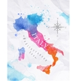 Watercolor map Italy pink blue vector image