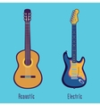 Acoustic and electric guitar in color vector image