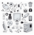 Elements of computer hardware and networks vector image