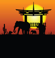 elephant and chinese construction silhouette vector image