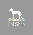 Pet shop logo with doggy sign and what dog needs vector image
