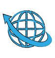 planet with arrow icon vector image