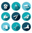Set of Hygiene Icons Woman Shower Teeth vector image