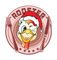 sticker in the form of a rooster head vector image