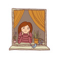 sad girl looking in the window vector image vector image