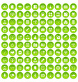 100 department icons set green circle vector image