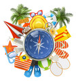 beach accessories with compass vector image